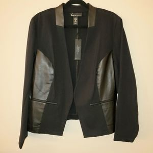 NEW Lane Bryant Ponte & Faux Leather Blazer